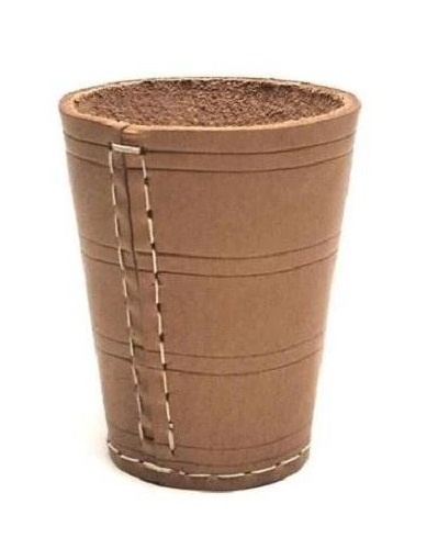 Longfield Games Dobbelbeker naturel leder bruin 8,5 cm