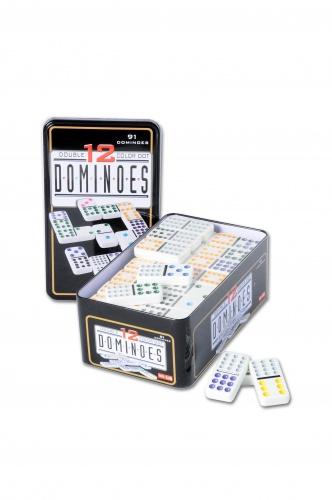 Longfield Games Domino Dubbel 12 in Blik 91 Stenen