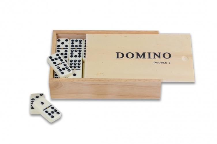Longfield Games Domino Dubbel 9 Groot in Kist 55 Stenen