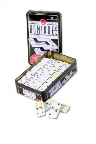 Longfield Games Domino Dubbel 9 in Blik 55 Stenen