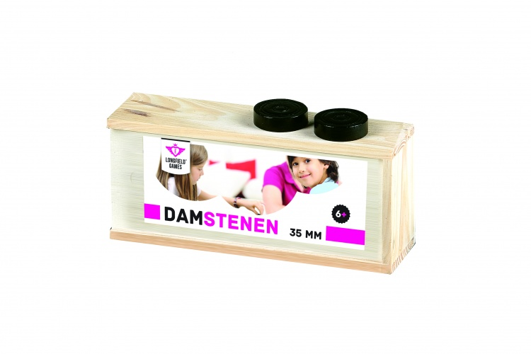 Longfield Games Houten Damstenen 35mm in Kist