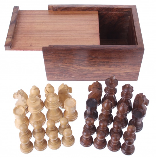 Longfield Games houten schaakstukken koning 76 mm bruin