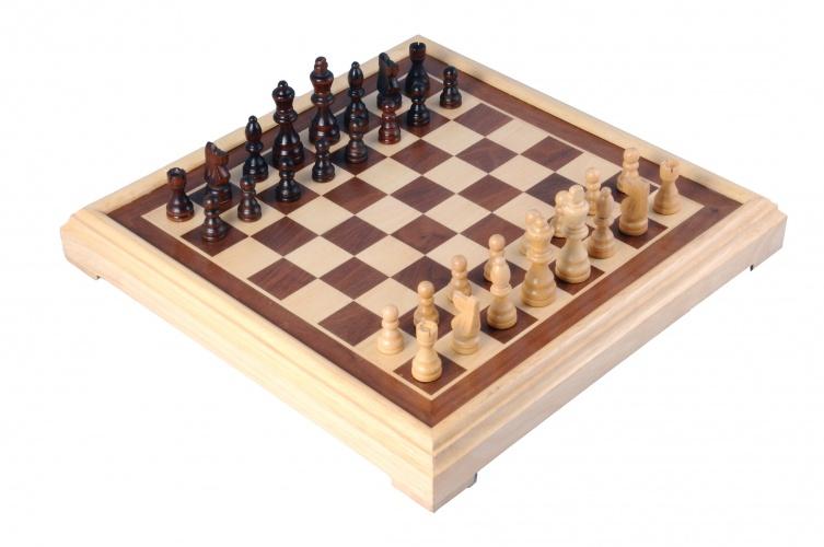 Longfield Games schaakspel 40 x 40 cm hout bruin/naturel