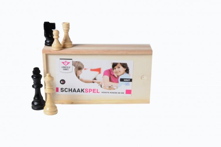Longfield Games houten schaakstukken in kistje Koning 88 mm