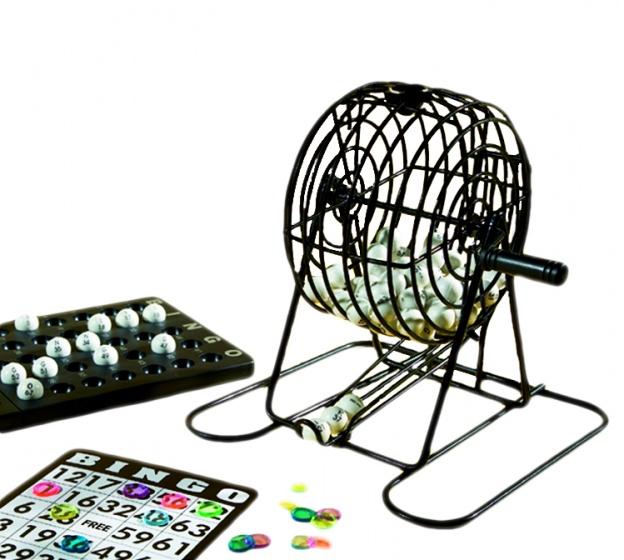 Longfield Games stalen bingomolen set 13,5 cm zwart