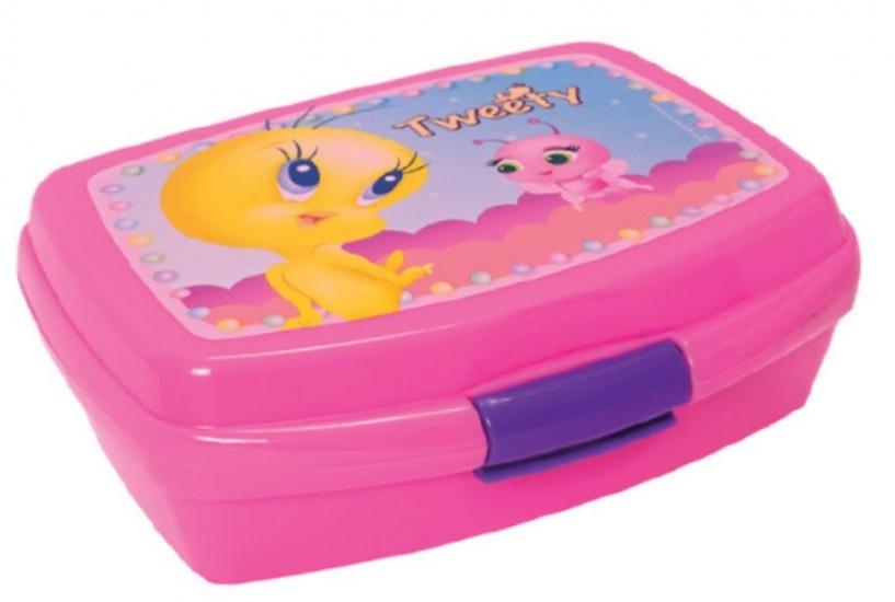 Looney Tunes Tweety Broodtrommel 6 x 13.5 x 17 cm roze