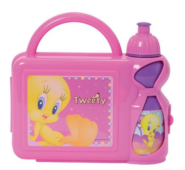 Looney Tunes Tweety Lunchset kunststof 2 delig roze