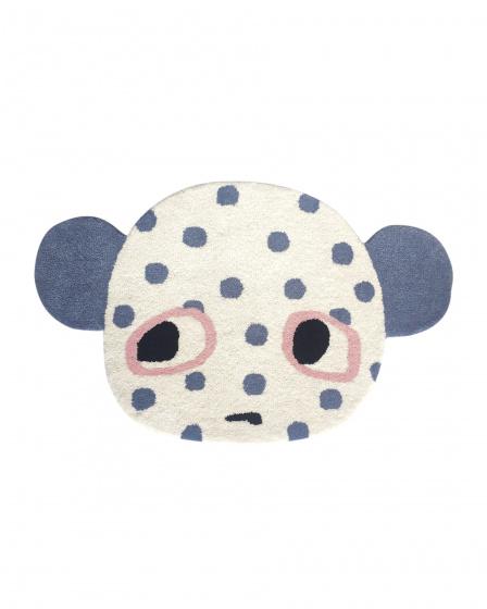 LuckyBoySunday vloerkleed 84 x 52 cm wol wit/blauw