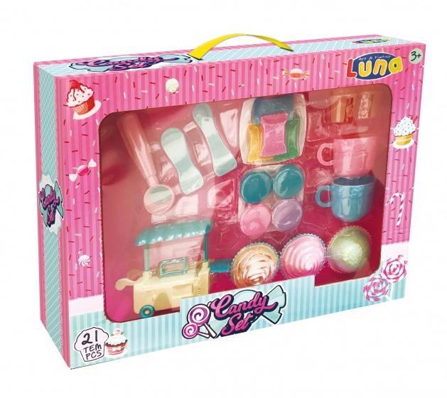 Luna cupcake en snoep speelgoedeten met kraampje 21 delig