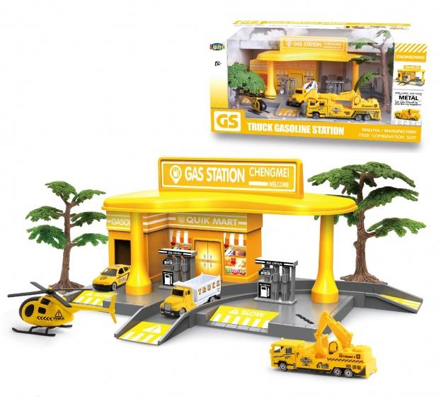 Luna tankstation met voertuigen geel 7 delig