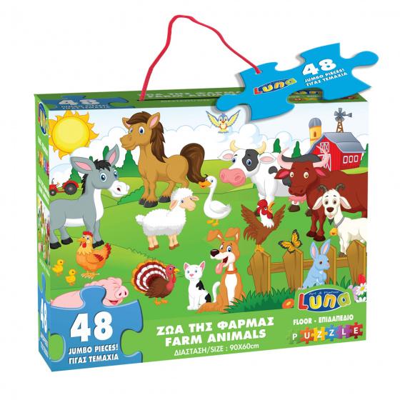 Luna vloerpuzzel boerderijdieren 60 x 90 cm karton 48 stuks kopen
