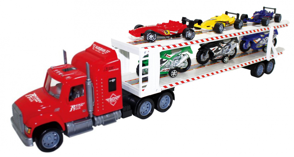 Luna autotransporter met Formule 1/motoren 57 cm rood 7 delig