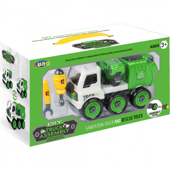 garbage truck junior 35 x 19 cm green/white three-part