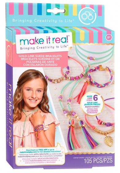 Make It Real armbandjes maken meisjes suède goud 108 delig