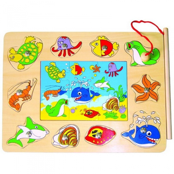 Mamamemo magnetisch puzzelspel vissen 16 stukken 30 x 22.5 cm
