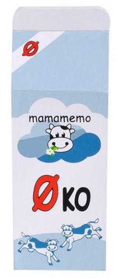 Mamamemo pak halfvolle melk hout 12 cm lichtblauw