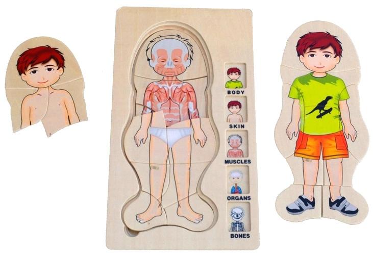 Mamamemo puzzel 5 laags hout jongen 29 x 14 cm