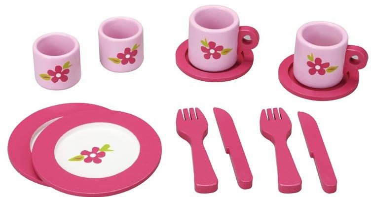 Mama Memo servies hout 12 delig roze
