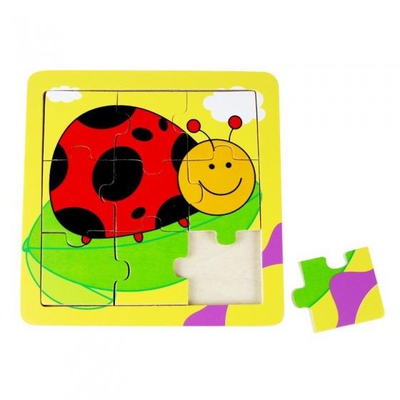 Mamamemo legpuzzel lieveheersbeestje hout 9 stukken 15 x 15 cm