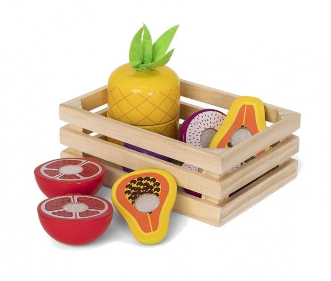Mamamemo houten krat met fruit 16 cm 11 delig