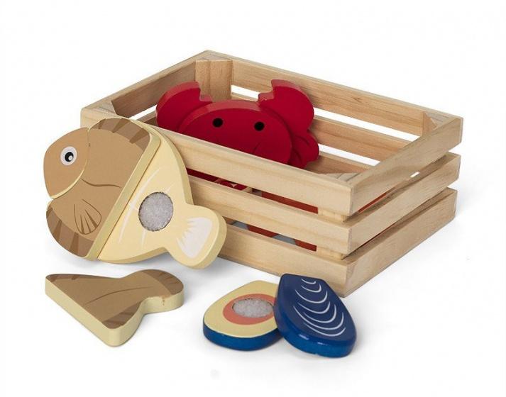 Mamamemo houten krat met zeevruchten 16 cm