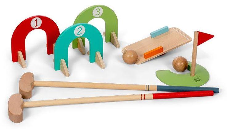 Mamamemo minigolfset junior hout lichtbruin 10 delig