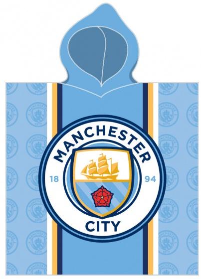 Manchester City badponcho logo 60 x 120 cm lichtblauw