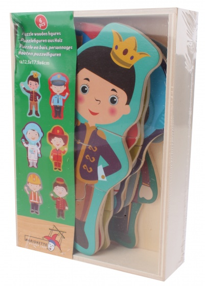 Marionette houten vormenpuzzel Beroepen 6 stuks