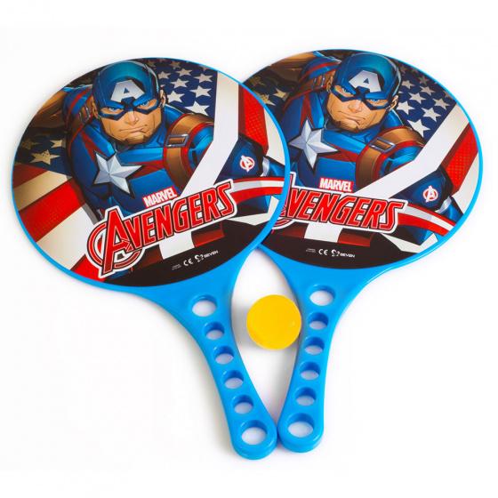 Marvel beachbalset Avengers jongens 36,5 cm blauw 3 delig 2 Rackets