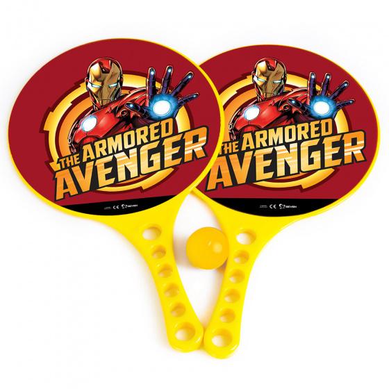 Marvel beachbalset Avengers jongens 36,5 cm geel 3 delig 2 Rackets