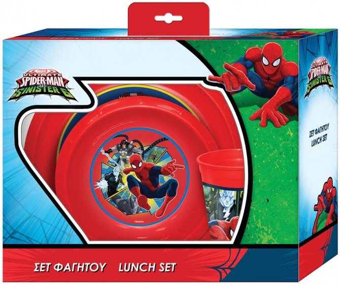 Marvel eetset Spider Man rood 3 delig
