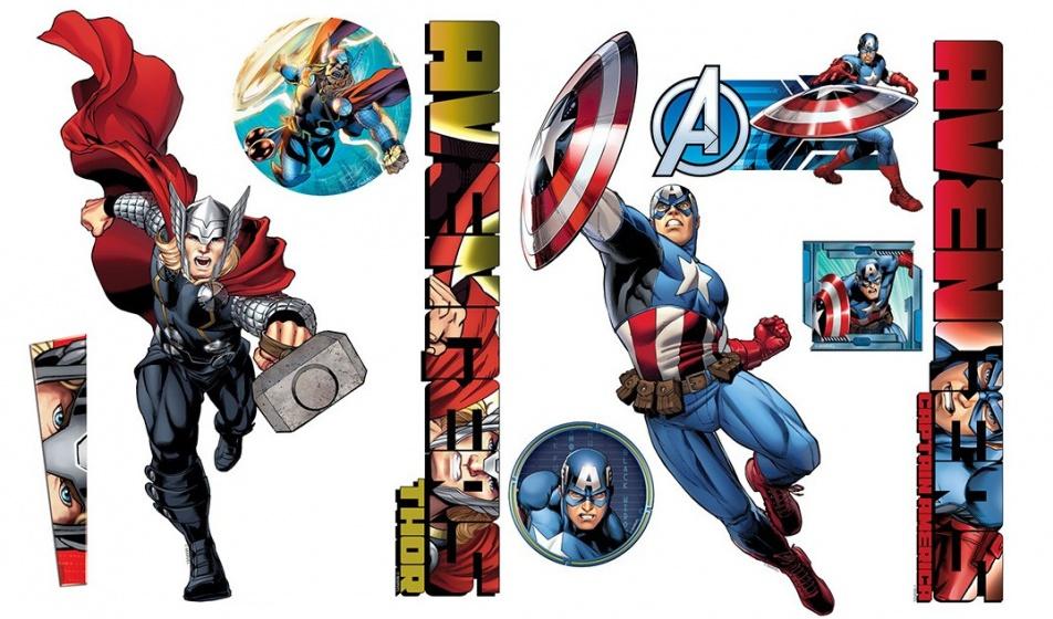 Muursticker Captain America & Thor 100x70cm
