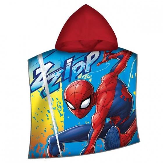 Marvel poncho Spider Man 120 x 60 cm blauw/rood