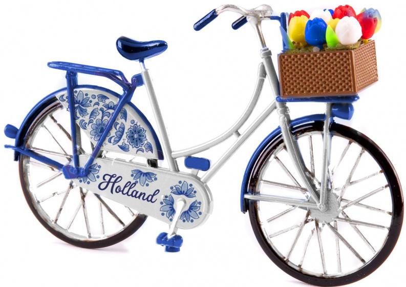 Matix miniatuurfiets Holland 15 x 9 cm metaal Delfts blauw