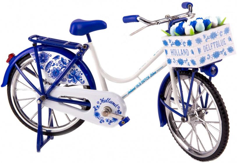 Matix miniatuurfiets Old Dutch 30 x 16 cm metaal Delfts blauw