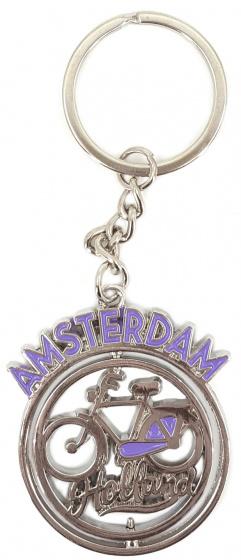 Matix sleutelhanger Fiets Amsterdam 4 cm staal paars-zilver