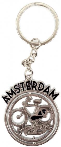 Matix sleutelhanger Fiets Amsterdam 4 cm staal zwart-zilver