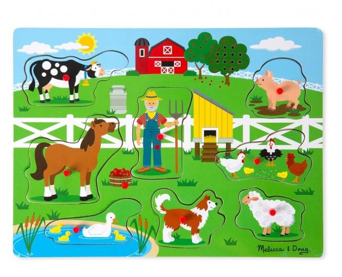 Meiya & Alvin vormenpuzzel met geluid boerderij 8 stukjes