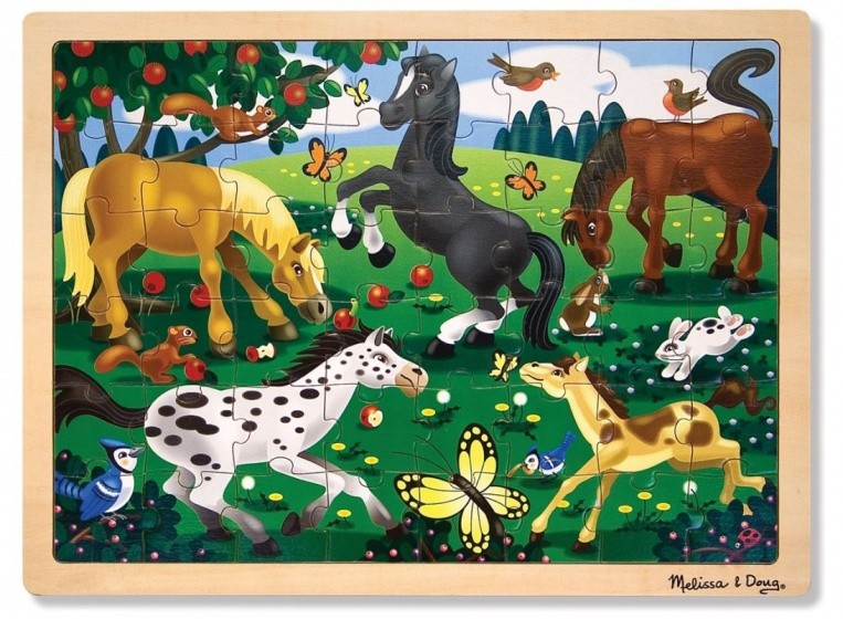 Melissa & Doug Frolicking horses houten puzzel 48 delig