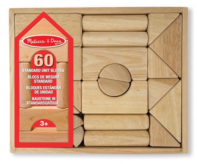 Melissa & Doug houten bouw en stapelblokken blank 60 delig
