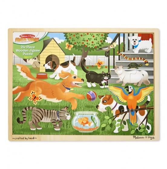 Melissa & Doug houten puzzel huisdieren 24 delig