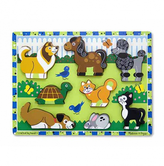 Melissa & Doug Pets Chunky puzzel 8 delig
