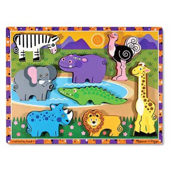 Melissa & Doug Safari Chunky puzzel 8 delig