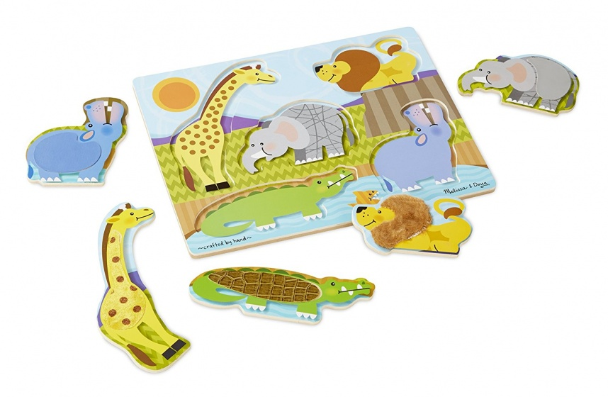 Melissa & Doug Touch And Feel dierentuindieren puzzel 5 delig