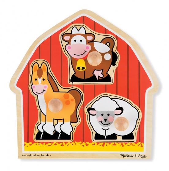Melissa & Doug vormenpuzzel boerderijdieren 3 stukjes