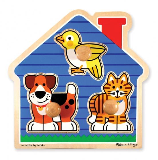 Melissa & Doug vormenpuzzel huisdieren 3 stukjes