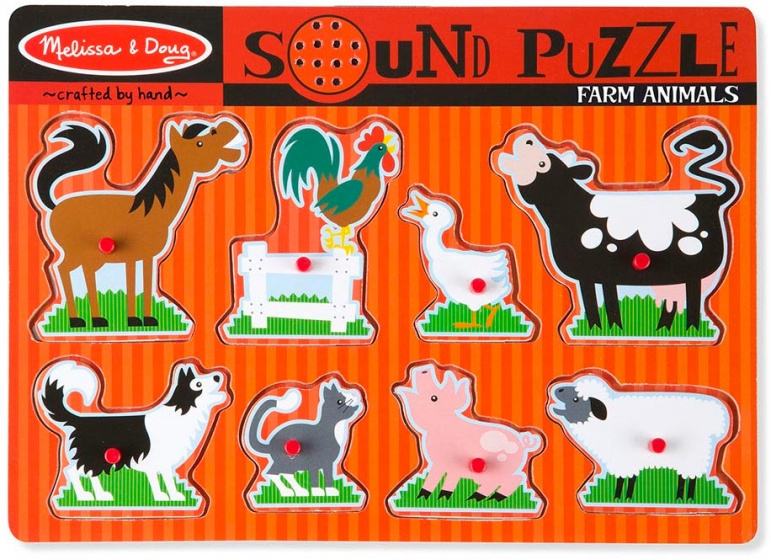 Puzzel met geluiden boerderijdieren