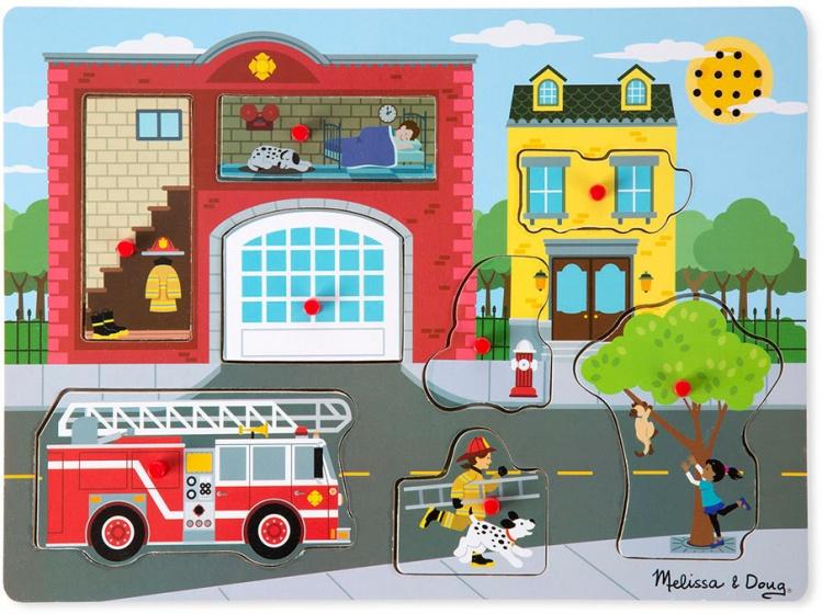 Melissa & Doug vormenpuzzel met geluid brandweerkazerne 8 stukjes