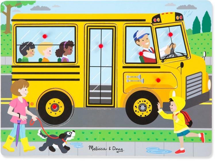 Melissa & Doug vormenpuzzel met geluid De wielen van de Bus