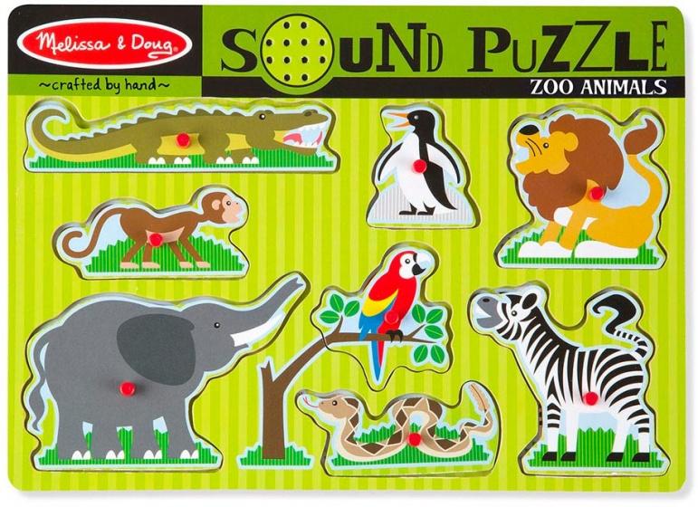 Melissa & Doug vormenpuzzel met geluid dierentuindieren 8 stukjes